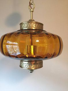 Vintage Amber Glass Light Fixture Mid Century Ceiling Light