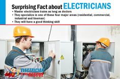 Surprising Fact about Electricians: •Master electricians trains as long as doctors •They specialize in one of these four major areas (residential, commercial, industrial and lineman)  •They will have a good thinking skill