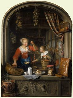 Gerrit Dou (Leiden 1613-75), The Grocer's Shop. Signed and dated 1672. Oil on panel, 48.5 x 35.3 cm (support, canvas/panel/str external). RCIN 405542. Royal Collection Trust/© Her Majesty Queen Elizabeth II 2015