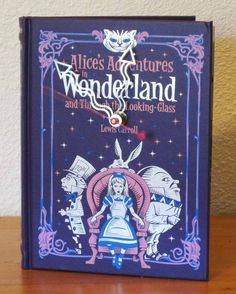 Alice's Adventures in Wonderland and Through the Looking Glass book clock by MyBooklandia on Etsy.  #bookclock, #aliceinwonderland, #upcycled #upcycledbook #bookish, #decoration, #homedecor, #giftforbooklover, #literarygifts