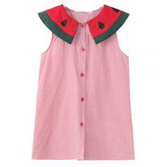 Sale 15% (11.89$) - Cute Kid Girls Sleeveless Watermelon Collar Dress