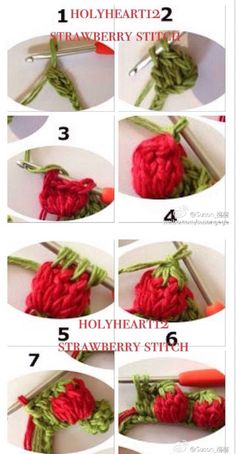 Crochet Strawberry Stitch Tutorial ⋆ Crochet Kingdom The Effective Pictures We Offer You About Crochet dishcloth A quality picture can tell you many things. Crochet Flower Tutorial, Crochet Diy, Crochet Motif, Crochet Crafts, Crochet Projects, Crochet Square Patterns, Crochet Stitches Patterns, Crochet Squares, Crochet Designs