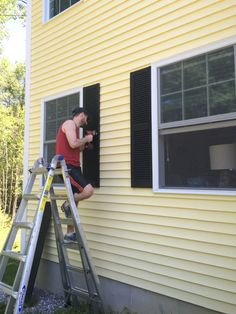 """""""I have come that they may have life and have it to the full"""" Painting Vinyl Windows, Paint Vinyl Shutters, Window Shutters, Farmhouse Window Treatments, Paint Colors, Blinds, Life Hacks, Home Improvement, Diy"""