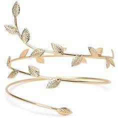 Gold Boho Goddess Wrap Arm Cuff (£6.28) ❤ liked on Polyvore featuring jewelry, bracelets, boho style jewelry, bohemian bangles, gold jewelry, gold jewellery and cuff jewelry