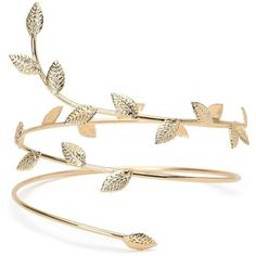 Gold Boho Goddess Wrap Arm Cuff (11 CAD) ❤ liked on Polyvore featuring jewelry, bracelets, accessories, boho style jewelry, bohemian jewelry, bohemian bangles, gold jewelry and leaf bangle
