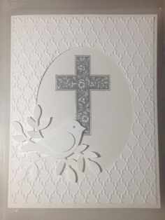 White Easter Dove by Gosia Hoot - Cards and Paper Crafts at Splitcoaststampers Confirmation Cards, Baptism Cards, Easter Cards Religious, First Communion Cards, Christian Cards, Bird Cards, Sympathy Cards, Greeting Cards Handmade, Handmade Easter Cards