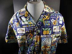 RJC Hawaii Tiki Surfer Aloha Hawaiian Shirt Mens Large   eBay