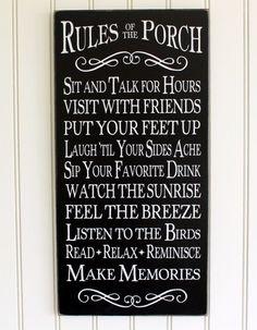 Porch Rules Sign Wall Art - Home Decor - Outdoor Living - Beach Cottage - Summertime -Memories- Coastal Living