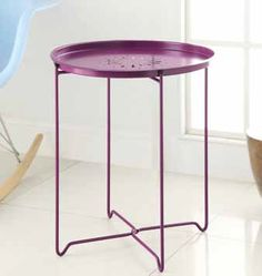 Contemporary Purple Metal Snack Table