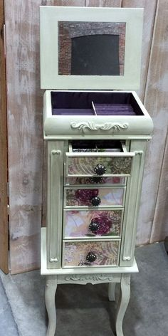 Ships in Time For Christmas-Green and Plum Jewelry Armoire Jewelry Box Makeover, Armoire Makeover, Furniture Makeover, Diy Furniture, Furniture Projects, Clean Gold Jewelry, Black Gold Jewelry, Garderobe Design, Gomme Laque