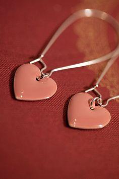 Rose pink heart earrings