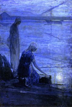 "Henry Ossawa Tanner -  Moses in the Bullrushes - - I pin this in honor of the feast of the Holy Innocents which we normally celebrate on Dec. 28th - Moses is seen as a ""type of Christ"" (expression meaning an imperfect prophesy of what is to come) here"
