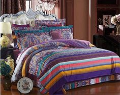 Auvoau Ethnic Style Bedding Sets,Morocco Style Bed...…
