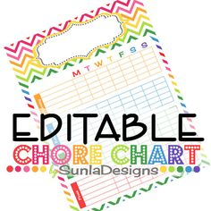 EDITABLE PDF- Weekly Chore Chart- Morning Routines- Evening Routines - To Earn - Rainbow - Teaching Good and Bad Behavior - Instant Download