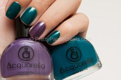 Ring Finger Accent Nail- Summer Nail Polish Trend 2012. Shown with Acquarella water based nail polish in Dream Car (greenish blue) and Date Night (Purple).   http://prettypaintednails.com/water-based-nail-polish/nail-polish-trends-for-summer-2012-accent-nail/