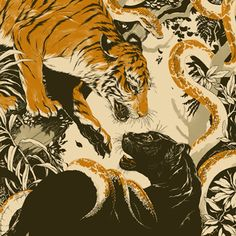 Illustrated posters, book covers, editorial, and more by Teagan White. Tiger Art, Art Graphique, Aesthetic Art, Japanese Art, Art Inspo, Art Reference, Cool Art, Concept Art, Art Drawings