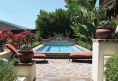 This roman shaped pool includes decorative glass tile at for Terry pool design jewelry