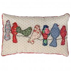 Patchwork Song Birds Cushion | DotComGiftShop Nice!