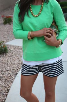thinking i would wear my coral trefoil print shorts with this look