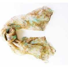Vintage Scarf Nylon Lightweight Light Tan Brown Aqua Blue Ladies... ($15) ❤ liked on Polyvore featuring accessories and scarves
