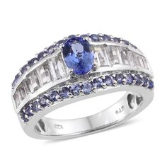 Tanzanite (Ovl 0.80 Ct), White Topaz Ring in Platinum Overlay Sterling Silver Nickel Free (Size 9.0) TGW 8.930 cts.