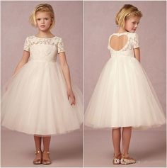 Cheap Pageant Dresses 2015 Ivory Junior Bridesmaid Dresses Flower Girls' Dress Bateau Neck Short Sleeves Heart Shape Open Back A Line Tea Length Tulle Bridal Gown Party Dresses For Girls From Beryldress888, $69.25| Dhgate.Com