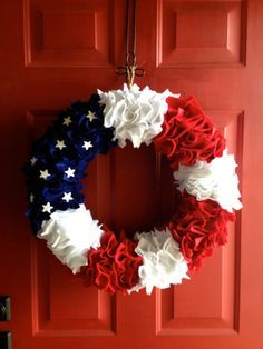 Summer Fourth of July Wreath probably could make this – styrofoam ring, red, white, blue felt, and wooden stars. glue on felt and stars and voila! | apparel