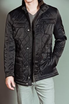 HAWKE&CO LAURENT QUILTED BLAZER JACKET WITH REMOVABLE FAUX FUR COLLAR BLACK