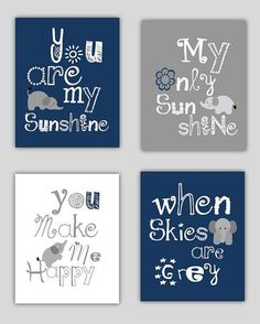 Elephant Art, You are my sunshine Navy Blue and Gray Art Prints, 4-8x10 prints, Matches Boy or Girl Nursery, nursery, or playroom: