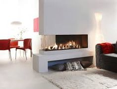 modern double sided fire places - Google Search