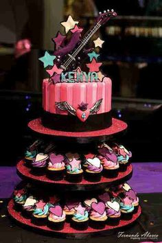 Rockstar Inspired birthday cake pictures Pop Star Party, Barbie Party, Cupcake Birthday Cake, Happy Birthday Cakes, Birthday Cake Girls, Happy Birthday Cake Pictures, 10th Birthday Parties, Rock Star Birthday Party, Birthday Bash