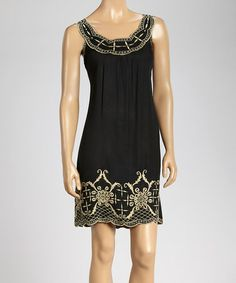Another great find on #zulily! Black Embroidered Yoke Dress #zulilyfinds
