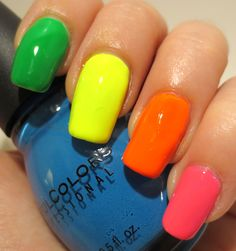 Galactic Lacquer: Falling Forward Nail Art Challenge - Neons