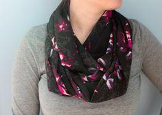 Infinity Scarf Black and Pink Flower Scarf Fashion by makinitmama, $20.00