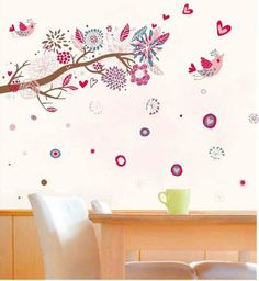 Online Shop Wall Mural Art Tree Glass Stickers Extra Large Bird Rich Flowers Wall Sticker Bohemia Home Decor Room Decor Art Decor, Room Decor, Flower Wall Decals, Pink Trees, Removable Wall Stickers, Mural Wall Art, Love Wall, Bird Tree, Wall Decal Sticker