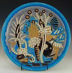 Primavera Art Deco Ceramic Dish with tropical decoratio - Longwy