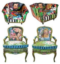 Living Color — Pop Art Chairs by Sarah Van Hoe Dream Furniture, Funky Furniture, Colorful Furniture, Upholstered Furniture, Home Decor Furniture, Hand Painted Chairs, Hand Painted Furniture, Fancy Chair, Paint Upholstery