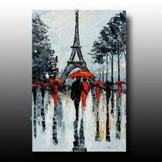 Handmade Black and White Paris Picture Palette Knife Oil Painting Hand-painted Abstract Wall Art Streetscape Couple Rainy Day