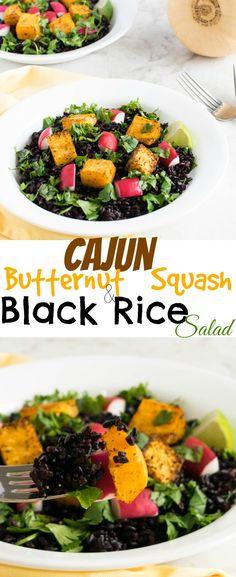 Cajun Butternut Squash and Black Rice Salad | healthy vegan salad with a good source of antioxidant and fiber | kiipfit.com