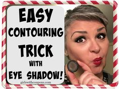 Easy #Contouring #Trick with Eye Shadow! #Beauty   If you just want some simple contouring, there's really no need to paint all kinds of lines everywhere. You don't have be an expert #makeup artist, use heaps of different products, brushes, blenders and all that.
