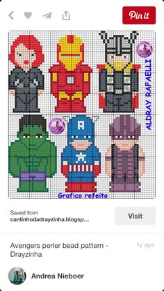 Avengers perler bead pattern - Drayzinha I bet it would be easy to change it to a plastic canvas pattern Easy Cross Stitch Patterns, Simple Cross Stitch, Plastic Canvas Ornaments, Plastic Canvas Patterns, Hama Beads Patterns, Beading Patterns, Crochet Patterns, Superman, Batman