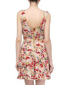 Floral-Print Voile Dress, Peach/Multi