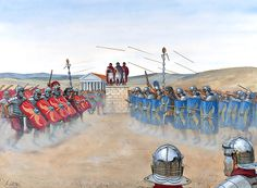 Legionaries of III Augusta fight a mock battle on their training ground at Lambaesis in ad The emperor Hadrian, on one of his regular tours of inspection, looks on from a tribunal Rome History, Ancient History, Fall Of Constantinople, Rome Art, Greek Pantheon, Roman Legion, Roman Republic, Medieval World, Roman Soldiers