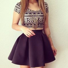 I just love love this outfit! This cute skater skirt with that printed crop top just screams summer!