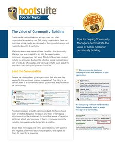 The Value of Community Building ~ A HootSuite Info Sheet