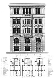 Elevation and plans for a residential building, Vienna Architecture Mapping, Classic Architecture, Architecture Drawings, Historical Architecture, Residential Architecture, Architecture Details, The Plan, How To Plan, Building Plans