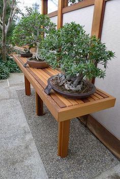 Bonsai bench attached to a building.