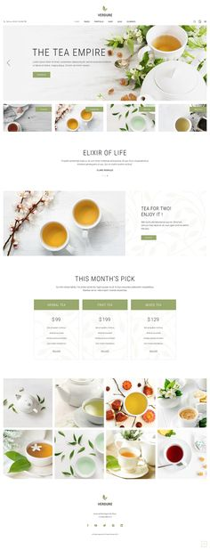 Make a website as perfect as the cup of finest tea with Verdure, our beautiful tea house and organic tea shop theme. With its carefully selected assortment of only the finest ingredients, Verdure has exactly what it takes to brew a flawless website. Web Design, Layout Design, Graphic Design, Online Tea Store, Tea Website, Herbal Store, Coffee Shop Business, Tea Culture, Food Tasting