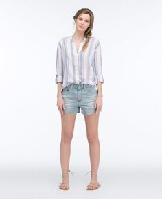 Linen, Cotton Sku# Item Details This easygoing essential collarless button-down comes crafted from luxe linen with a light blue-and-white stripe motif, effortlessly chic from beach to brunch. People Png, Ag Jeans, Cotton Lights, Silk Crepe, Warm Weather, Chambray, Blue And White, Photoshop, Entourage