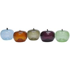 <p> The transparent beauty of our cracked Eve Apple transforms an ordinary shape into an original work of art. Hand-crafted of crackled blown glass, it is available in Clear, Amber, Zirconium, Aquamarine, Emerald, or Amethyst. For interior use only.</p>